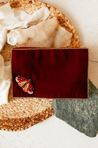Velvet Beaded Design Purse - Burgundy
