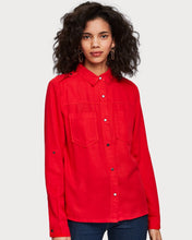 Load image into Gallery viewer, Crafted from soft tencel, this red workwear-inspired shirt features chest pockets, a snap button closure, and sleeve collectors that allow for easy style switch-ups.  By Maison Scotch