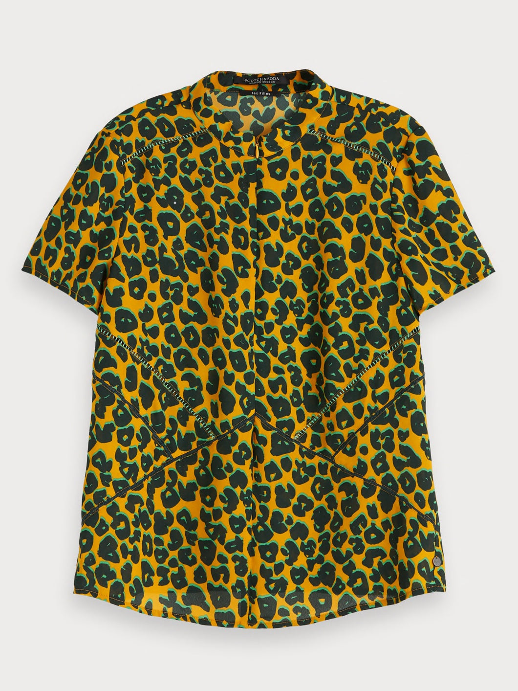 Maison Scotch animal print top in smooth crepe with hidden zip at the neckline.