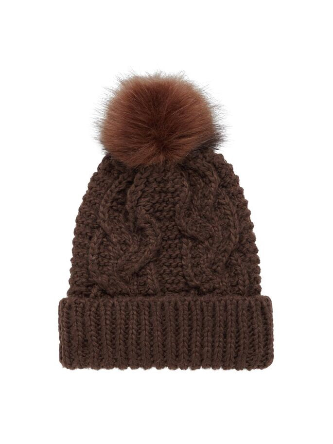 Knitted beanie with cable knit pattern.  Folded at hem with faux fur pom pom.  By Vero Moda