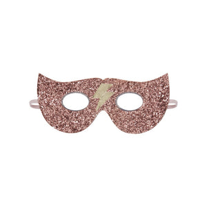 Let her be the hero for the day with this dazzling pink glitter superhero mask, complete with a gold lightening bolt so that it is extra striking.  With comfortable elastic strap to go around the head.  This spectacular mask will bring hours of fun and is a super gift idea!