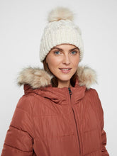 Load image into Gallery viewer, Knitted beanie with cable knit pattern.  Folded at hem with faux fur pom pom.  By Vero Moda