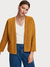 Load image into Gallery viewer, Soft stretch cardigan / light jacket in allover jacquard animal pattern with metallic detailing. Comfortable and easy to wear, boxy shape giving neat styling.  By Maison Scotch