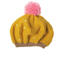 Load image into Gallery viewer, This cheery knitted beret will brighten up any dull day! In soft knitted yellow ochre yarn, with gold embroidered spots and a jolly pink pom pom on top, it also has a cosy fleece lining for extra warmth. Age 3-6yrs. Matching scarf and mittens available.  (Not suitable for children under 36 months due to small parts) By Rockahula