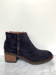 Western influenced ankle boot in navy nubuck leather. Back zip detail with snake lining.  Opening zip inside foot.  By Alpe