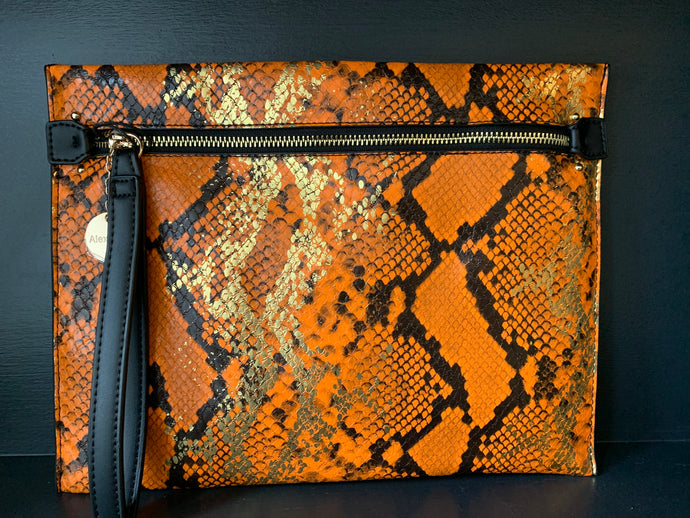 Metallic Snake Pouch Large - Orange
