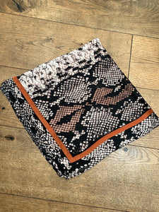 Snake Print Square Scarf - Brown