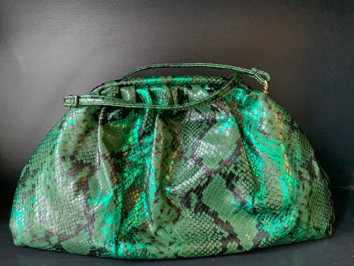 Metallic Snake Bag - Green