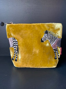 Velvet Zebra Pouch - Medium