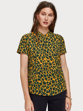 Load image into Gallery viewer, Maison Scotch animal print top in smooth crepe with hidden zip at the neckline.