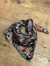 Load image into Gallery viewer, Snake Print Square Scarf - Brown