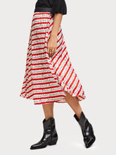 Load image into Gallery viewer, Crafted in super soft satin that flows beautifully, this high-waisted skirt features a pleated design, seasonal print, and elasticated waistband. By Maison Scotch