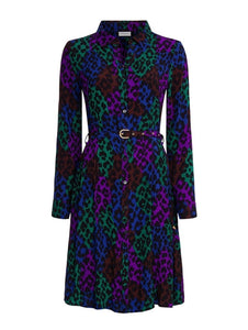 Fabienne Chapot Hayley dress.  Leopard print shirt dress mid length with belt at the waist.