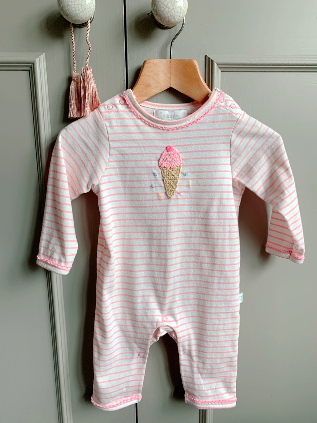 Albetta Stripe Ice Cream Babygrow