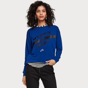 Maison Scotch Arkwork sweater, blue with black text artwork
