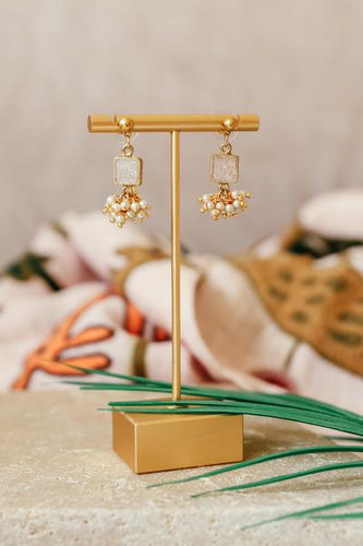Champagne Square Cluster Drop Earring