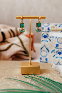 Turquoise Square Cluster Drop Earrings