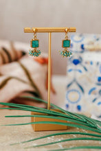 Load image into Gallery viewer, Turquoise Square Cluster Drop Earrings
