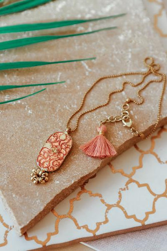 Blush Pink Shield Necklace