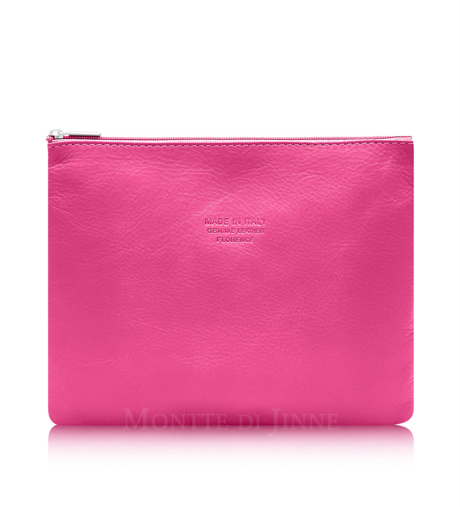Leather Pouch Med - Fuchsia