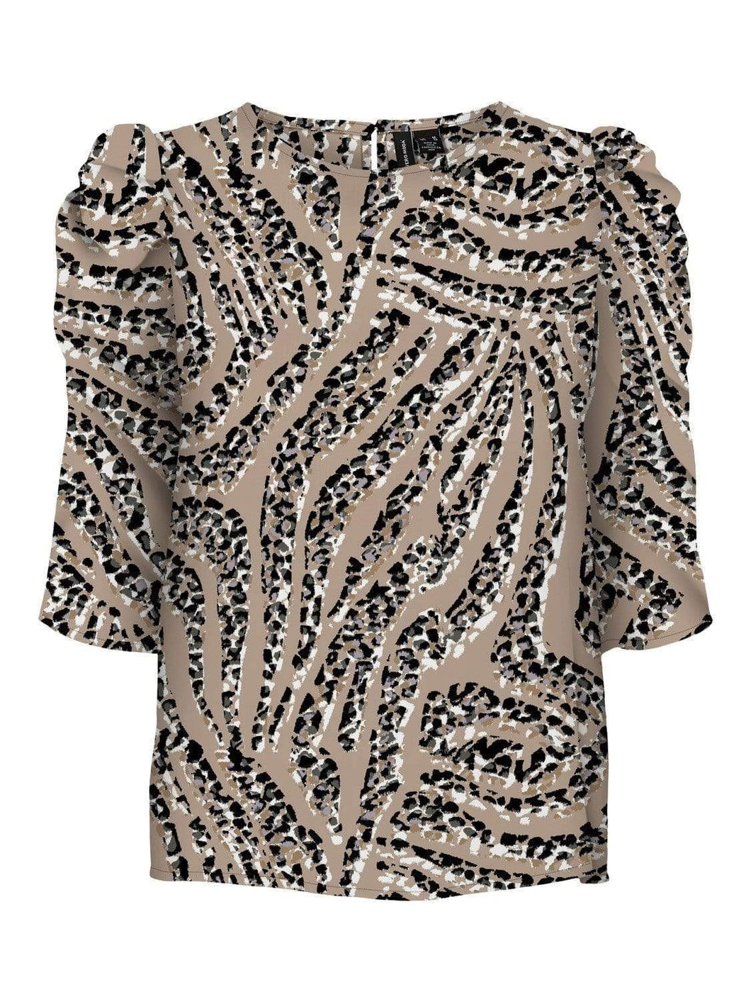 Vero Moda Animal Print Top - Stone