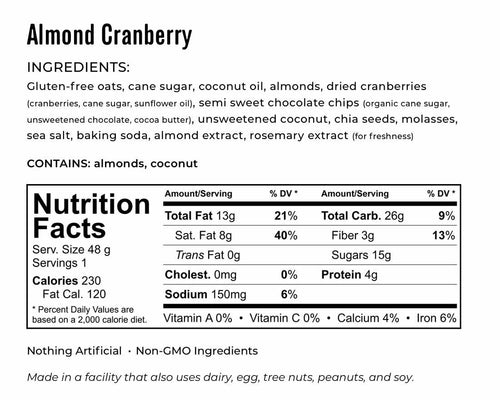 Kakookies Almond Cranberry Energy Snack Cookies Nutrition and Ingredient Facts