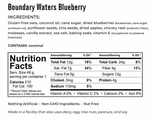 Kakookies boundary waters blueberry ingredients and nutrition facts