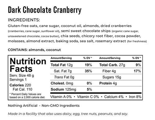 Kakookies Dark Chocolate Cranberry ingredients and nutrition facts