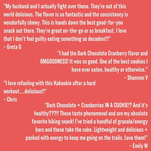 Kakookies Dark Chocolate Cranberry better for you healthier delicious and nutritious energy snack cookies