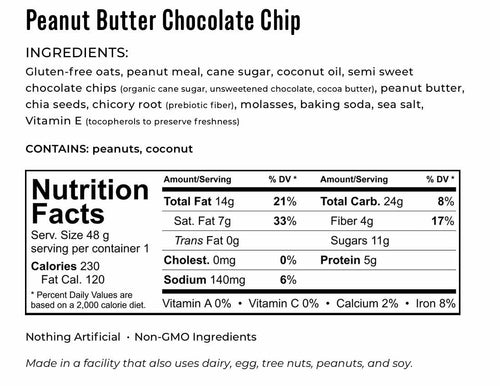Kakookies Peanut Butter Chocolate Chip Ingredients and Nutrition Facts