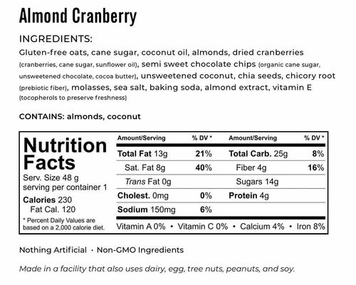 Kakookies Almond Cranberry ingredients and nutrition facts