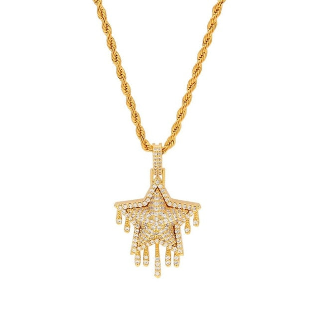 Yellow Gold/White Gold Dripping Star