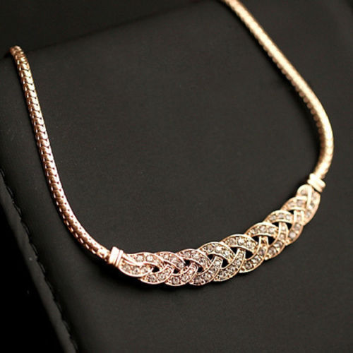 Women's 14K Gold Crystal Chain Necklace