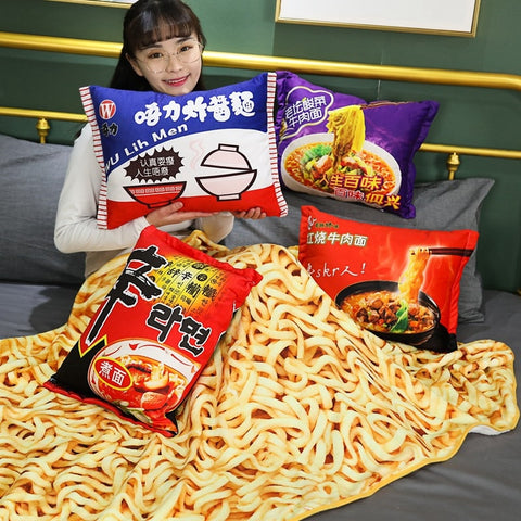 Instant Noodles Plush Pillow and Blanket Set - The Meow Lab