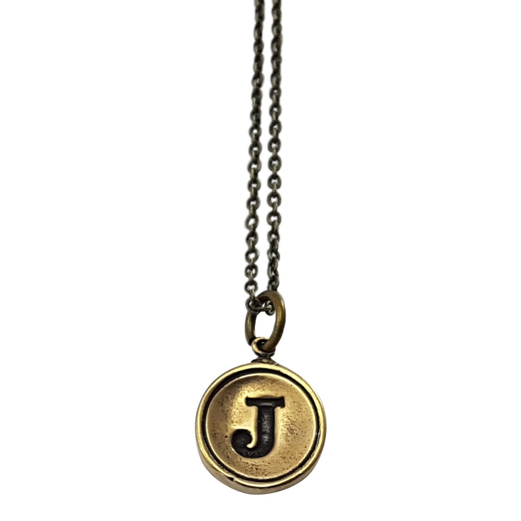 Initial Letter Necklace - Bronze - Gwen Delicious Jewelry Designs