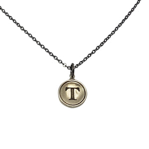 Initial Letter Necklace - Silver White Bronze - Gwen Delicious Jewelry Designs