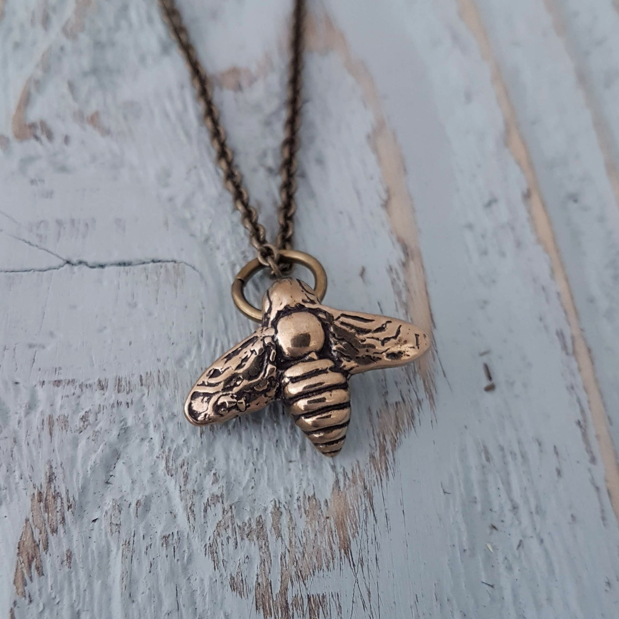 Flying Honey Bumble Bee Charm Necklace - Gwen Delicious Jewelry Designs