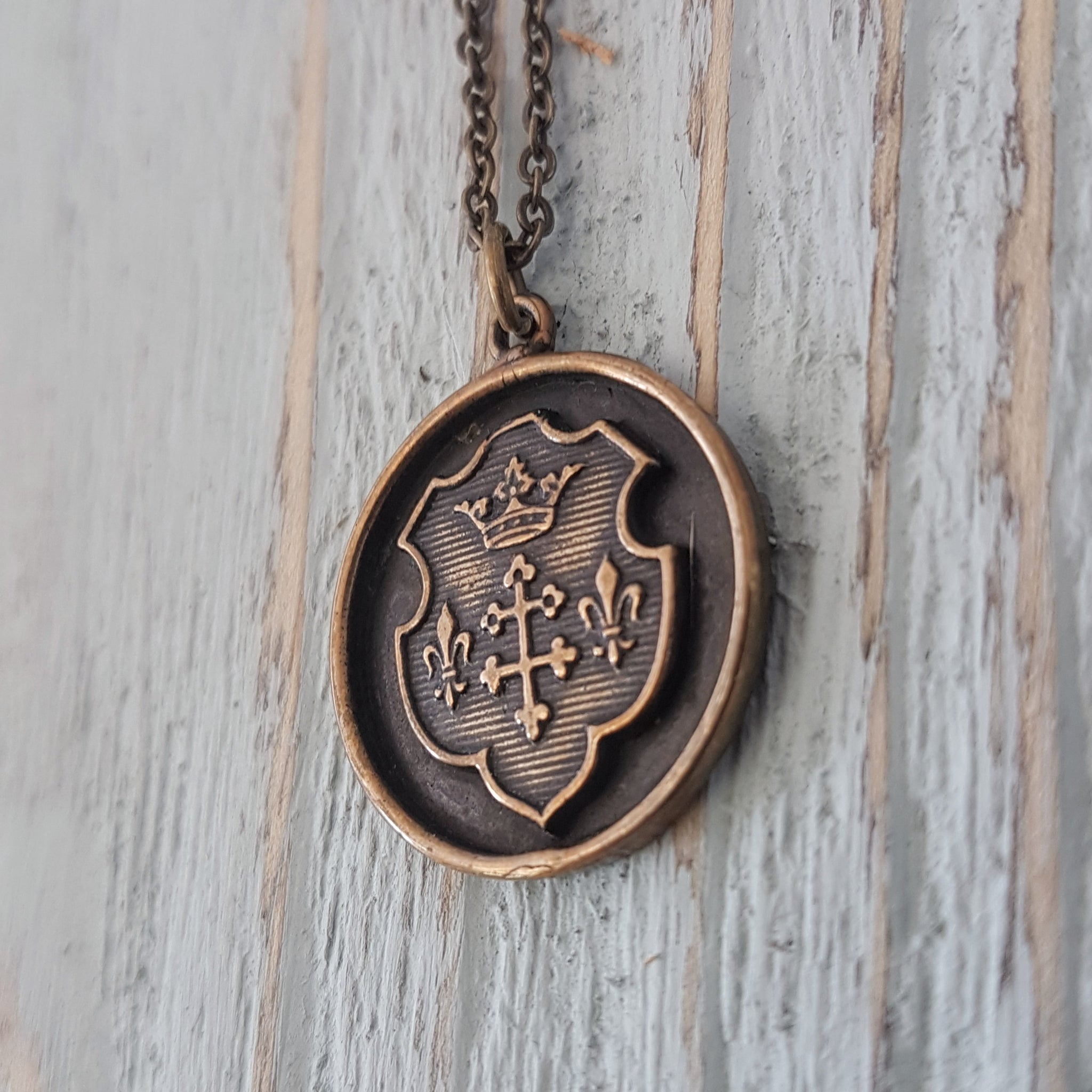 Coat of Arms Wax Seal Necklace - Gwen Delicious Jewelry Designs