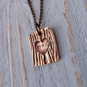 Carved Initial Tree Bark Necklace - Gwen Delicious Jewelry Designs
