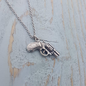 Revolver Pistol Gun Necklace - Gwen Delicious Jewelry Designs