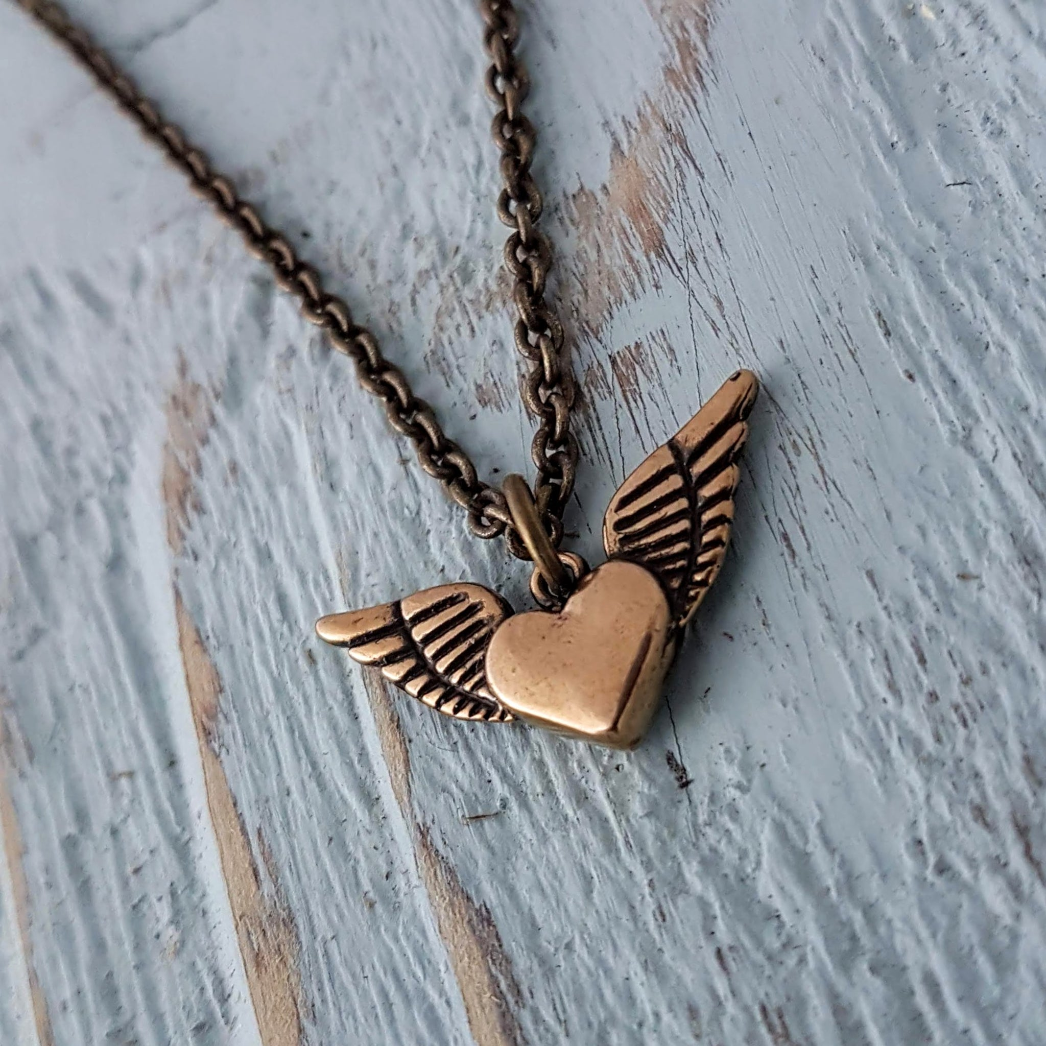 Flying Heart Necklace - Winged Heart Charm - Gwen Delicious Jewelry Designs