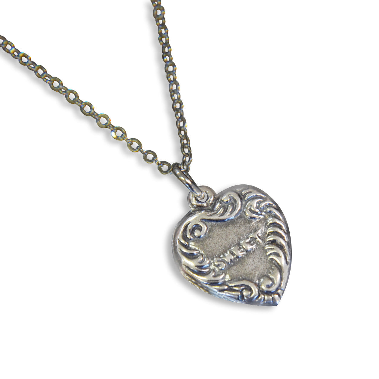Vintage Sweet Heart Necklace Heart Charm Silver Vintage Charm - Gwen Delicious Jewelry Designs