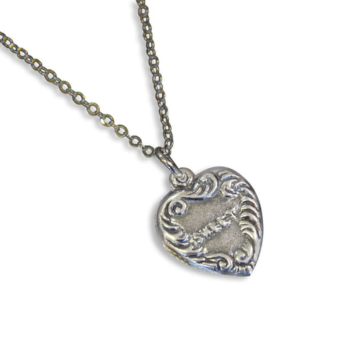 Vintage Sweet Heart Necklace Heart Charm Silver Vintage Charm