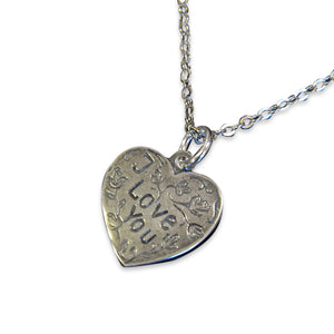 I Love You Vintage Heart Necklace Heart Charm Silver Necklace Vintage Trench Art - Gwen Delicious Jewelry Designs