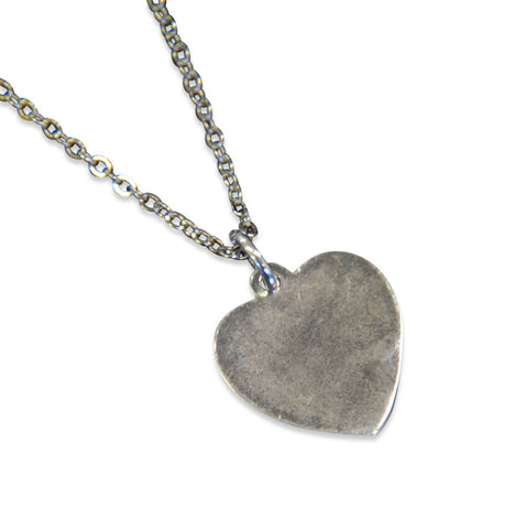 I Love You Vintage Heart Necklace Heart Charm Silver Necklace Vintage Trench Art