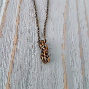 Tiny Peanut Charm Pendant Necklace - Gwen Delicious Jewelry Designs