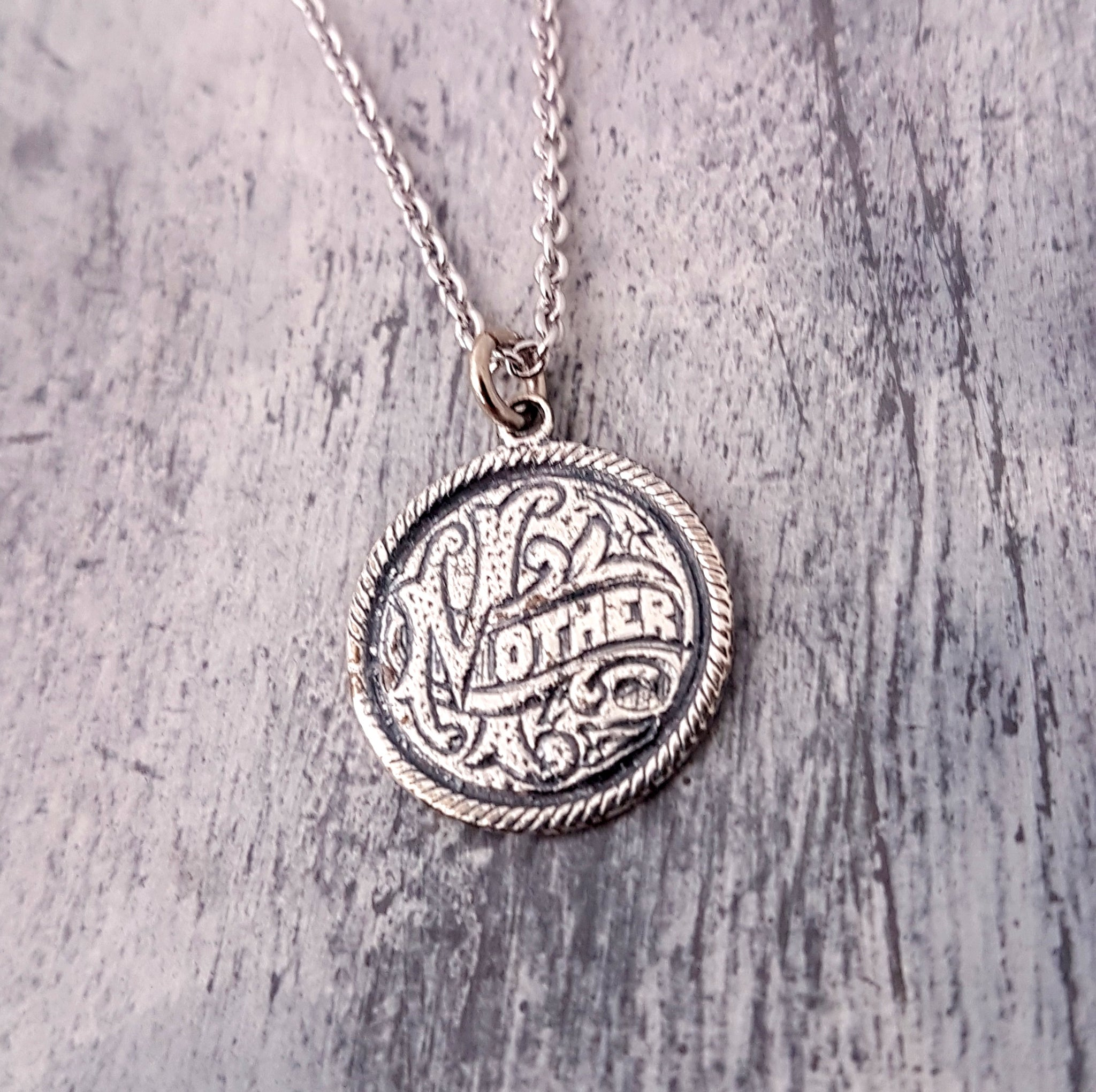 Silver Mother Love Token Necklace - Gwen Delicious Jewelry Designs