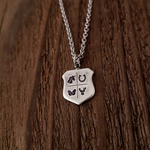 Personalized Shield Necklace - Create your Own Meaningful Necklace - Gwen Delicious Jewelry Designs