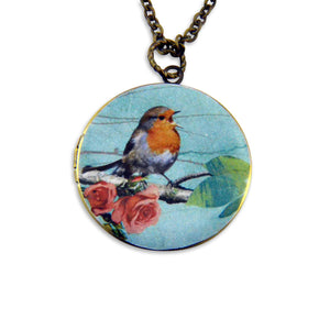 The Robin Vintage Theme Photo Locket - Gwen Delicious Jewelry Designs