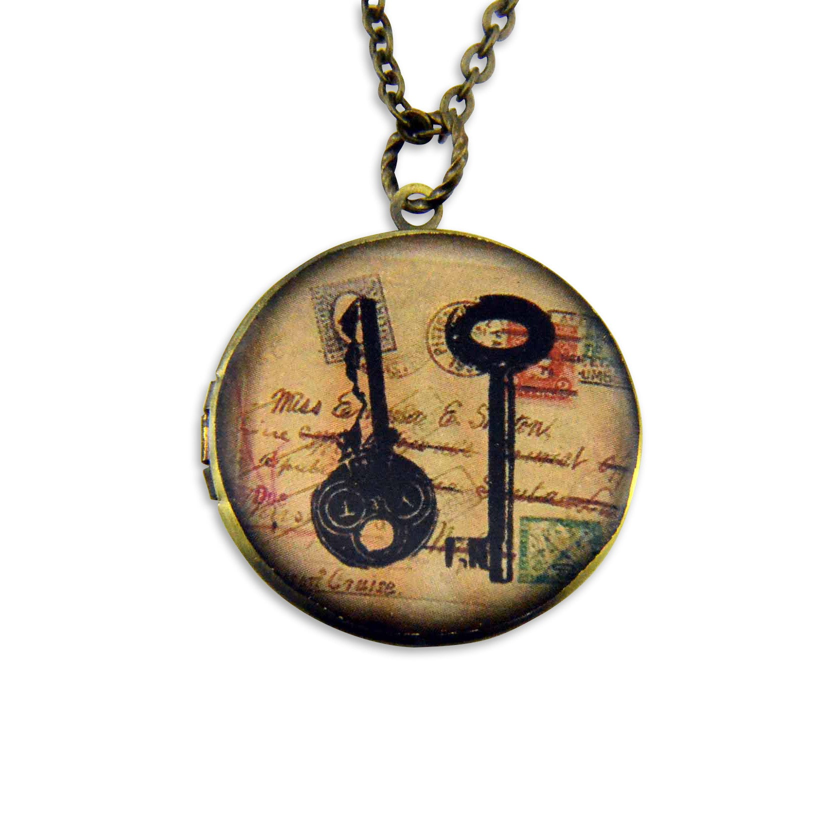 Skeleton Keys Vintage Theme Photo Locket - Gwen Delicious Jewelry Designs